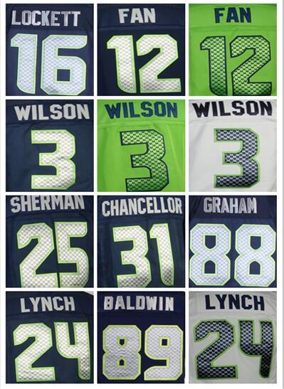 MENS 25 Richard Sherman jersey 24 Marshawn Lynch 3 Russell Wilsons 31 Kam Chancellor Jimmy Graham DOUG BALDWIN elite jersey(China (Mainland))