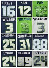 MENS 25 Richard Sherman jersey 24 Marshawn Lynch 3 Russell Wilsons 31 Kam Chancellor Jimmy Graham DOUG BALDWIN elite jersey(China (Mainland))