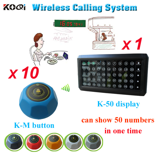 Restaurant wireless calling system 10PCS bells and 1PC displaymonitor K-50 for castering equipment free shipping(China (Mainland))