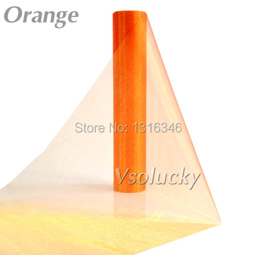 25M x 29CM Orange Sheer Organza Roll Fabric DIY Wedding Party Chair Sash Bows Table Runner Swag Decor Hot sale(China (Mainland))