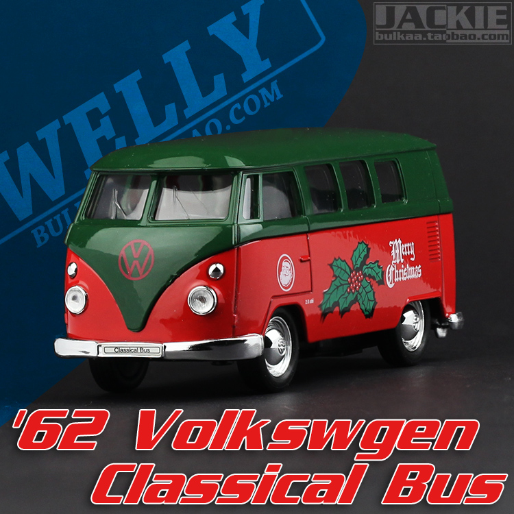 Super 1pc 1:36 11.3cm mini delicate welly Volkswagen T1 Christmas bus simulation model alloy car home decoration gift toy(China (Mainland))