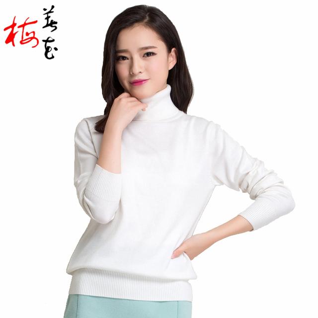 Зима женщины 22 сплошной цвет трикотажные кашемировый свитер осень 2015 мода леди ...