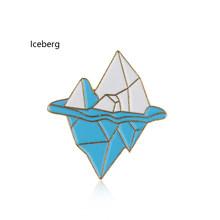 1Pc Blue Waves Iceberg Brooch Dello Smalto Spilli Fibbia Del Fumetto Spilla In Metallo Per Il Cappotto Cappotto Sacchetto di Spille Distintivo Neve In Montagna regalo dei monili(China)