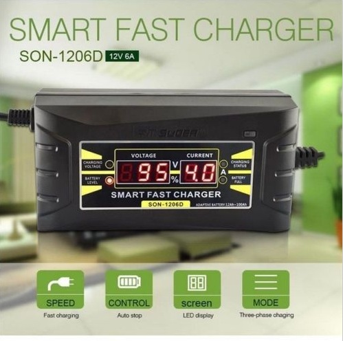 SON Genuine Full Automatic Smart 12V 6A Lead Acid/GEL Battery Charger with LCD Display US/EU Plug(China (Mainland))