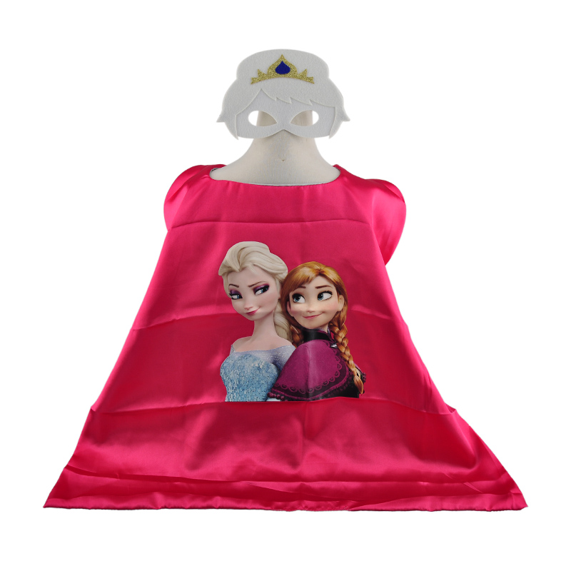 Double sides minions anna elsa costume cosplay children superhero capes and masks for kids super hero cape cloak set(China (Mainland))