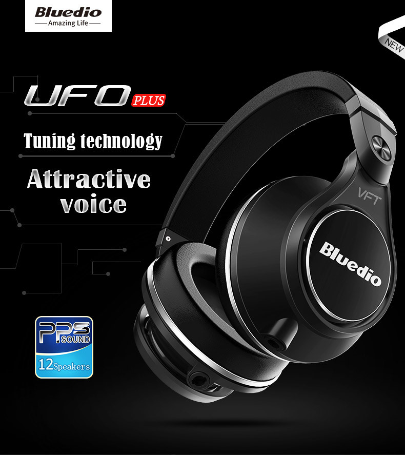Original Bluedio UFO PLUS 3D bass bluetooth headset Patented 12 Drivers HiFi wireless headphones with microphone for music phone