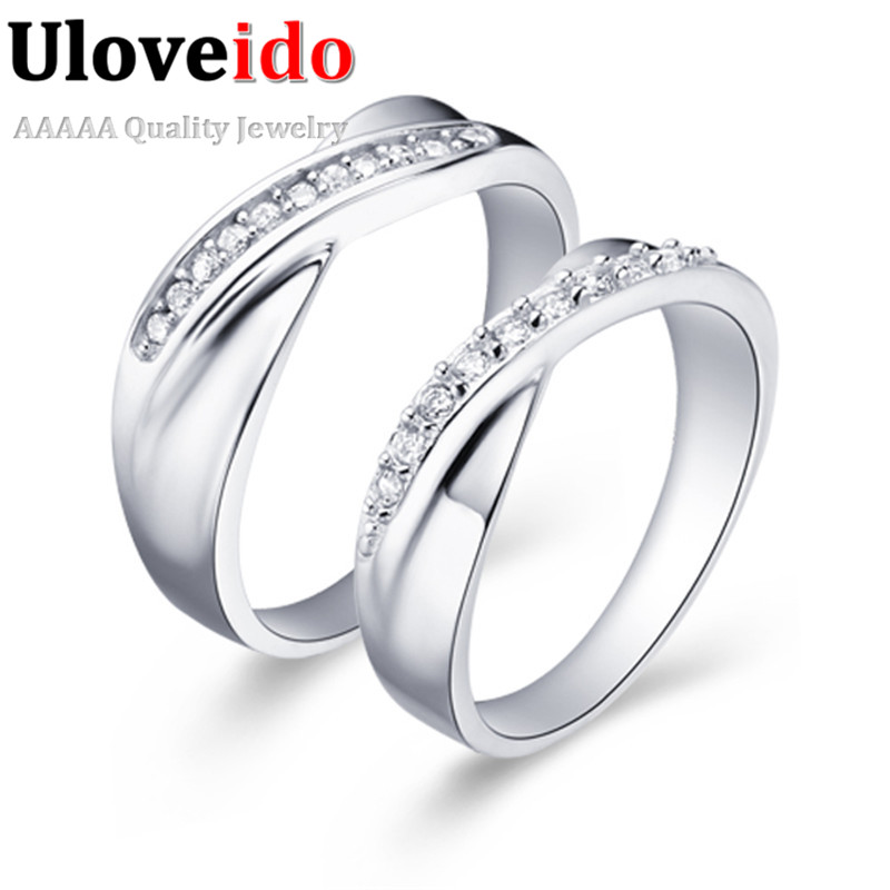 Jewelry Forever Love White Gold Plated Couple Rings Men/Women CZ Diamond 2016 Crystal Ring Set Uaib J039 - ULOVE No.2 Fashion Store store