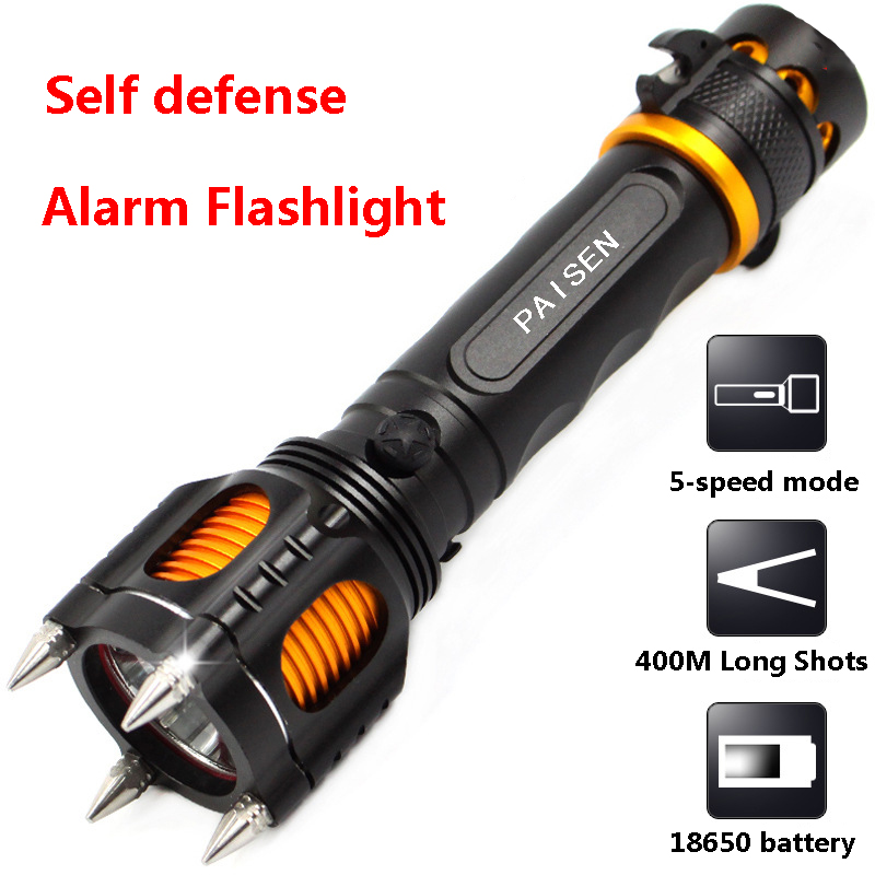 Flashlight LED Self defense 18650 XM-L2 Powerful Tail sound light alarm Car Explosion Rechargeable Tactical flashlight - Bleum lighting store