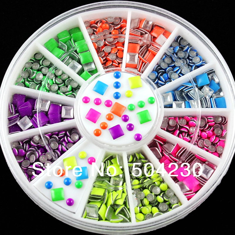 3D Acrylic Metal Nail Art Decoration Rhinestones Wheel Alloy Nail Supplies Neon Studs Cell Phone Accessories(China (Mainland))