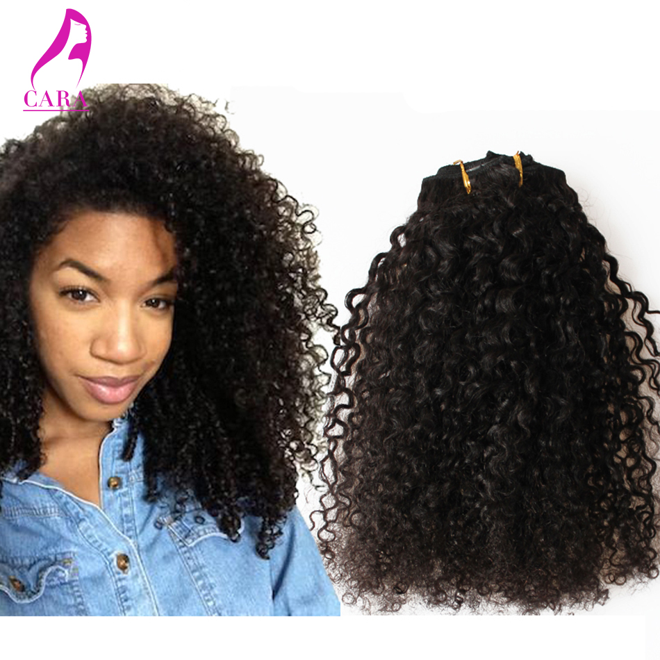 6A Mongolian Kinky Curly Clip in Human Hair Extensions 120g 7Pcs/Set 3B 3C Texture Kinky Curly Clip in Hair Extensions(China (Mainland))