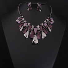 2015 European Big Fashion Color High Quality Party Jewelry For Women  Leaves Necklace Earring Jewelry Set 4592(China (Mainland))