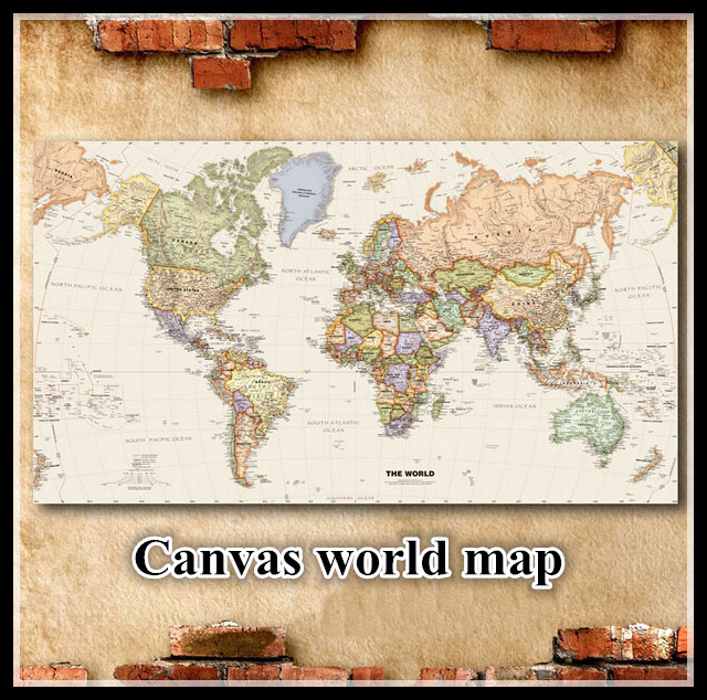World map wall sticker world of map canvas picture wall map vintage home decorate wall picture Map of world(China (Mainland))