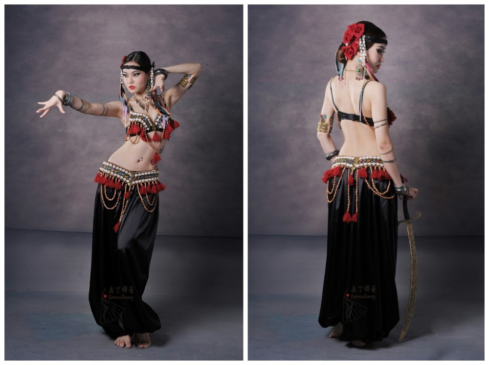 Sexy belly dance dancing tribal bra+hanging ear belt costumes 2pcs/set stage costume wear clothing #SXWJ00606(China (Mainland))