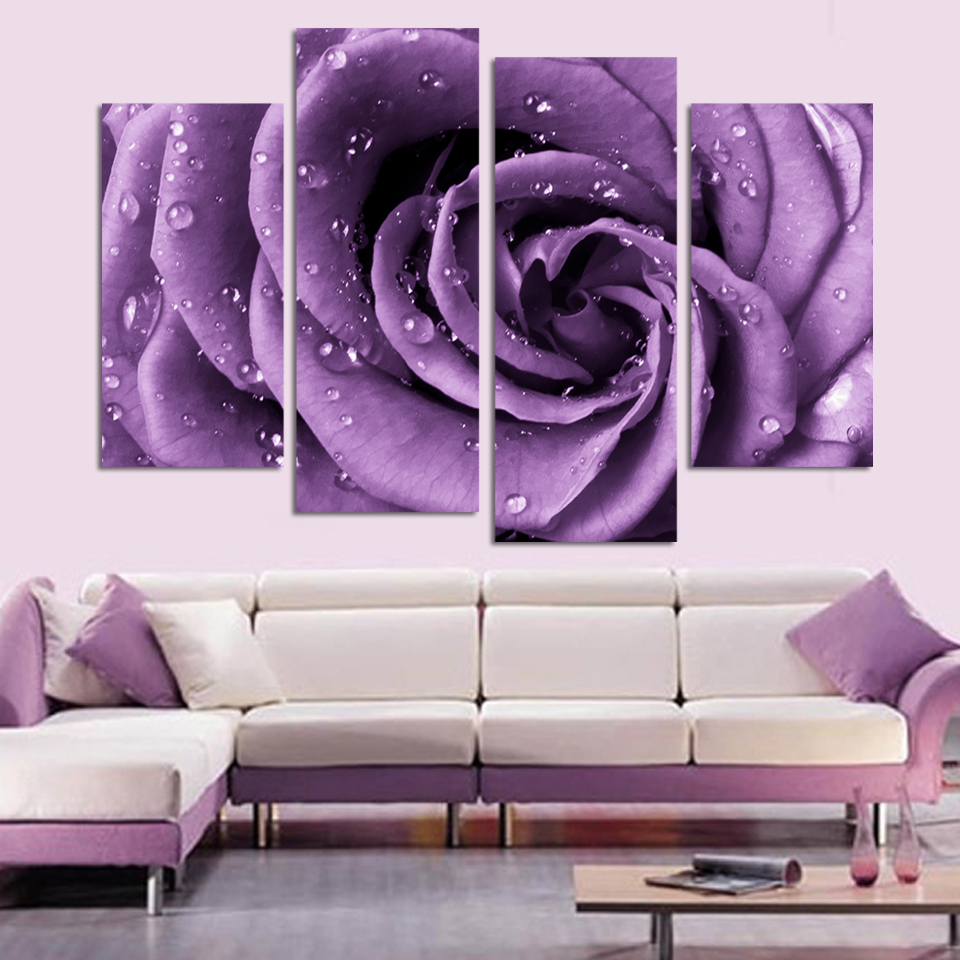 4 panel/Set Modern Abstract Beautiful Wall Art purple Rose ...