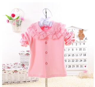 2015 spring&summer Children clothing  girls Long sleeve Blouse, Cotton Kids lace Blouse Shirt Girls Tops/Shirts