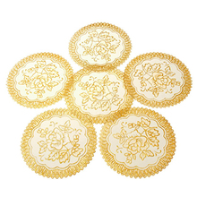 AYHF-6 Exquisite Gold-tone Flower Dinning Table COASTERS SET(China (Mainland))