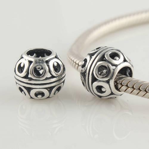 Подходит для ручной пандора браслет ожерелья оригинальный мода европейский винтаж стерлингового серебра 925 полый шар шарм скольжения бусины