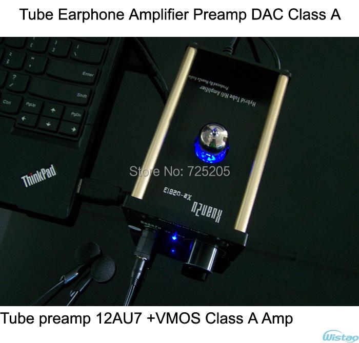 Tube Earphone Amplifier Class A 12AU7 VMOS FET Tube Preamp USB Decoding CM108 TDA1305T DAC Amp HIFI(China (Mainland))
