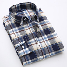 Premium Pre-washed Men's Plaid Twill Shirt Soft Texture Classic Scottish Tartan Long Sleeve Checks Casual Shirt 4XL Plus Size