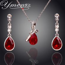 YMENGZ Fashion 2016 Newest Silver plated Austrian Rhinestone Crystal Drop Earrings Necklace Set Jewelry sets For Women Wholesale(China (Mainland))