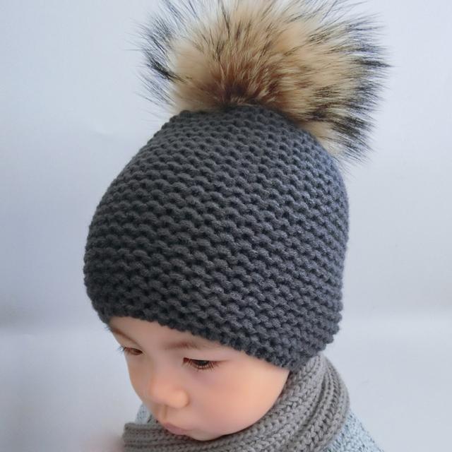 Зимняя Шапка Дети Ребенок Мех Енота Помпон Шляпы Мальчик И Девушки Теплый Шапочка Hat Cap Для Детей