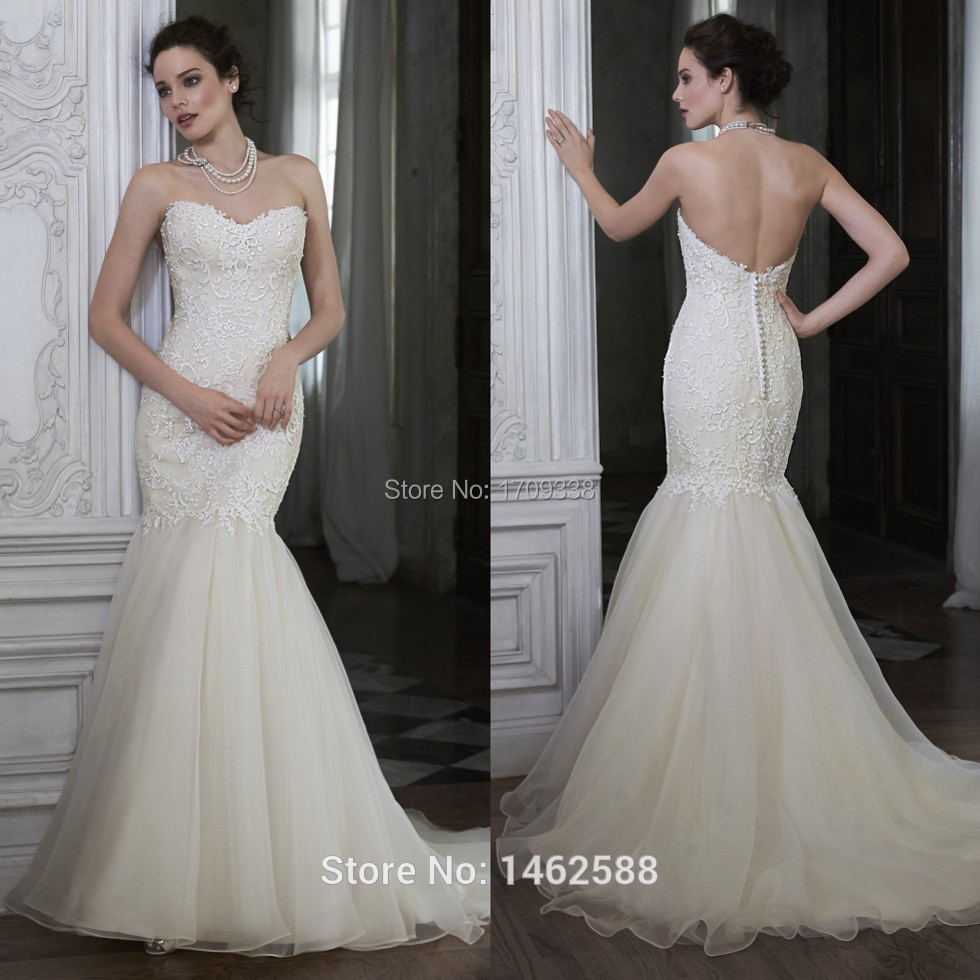 New arrival 2016 lace 2016 new cheap strapless wedding for Cheap lace mermaid wedding dresses