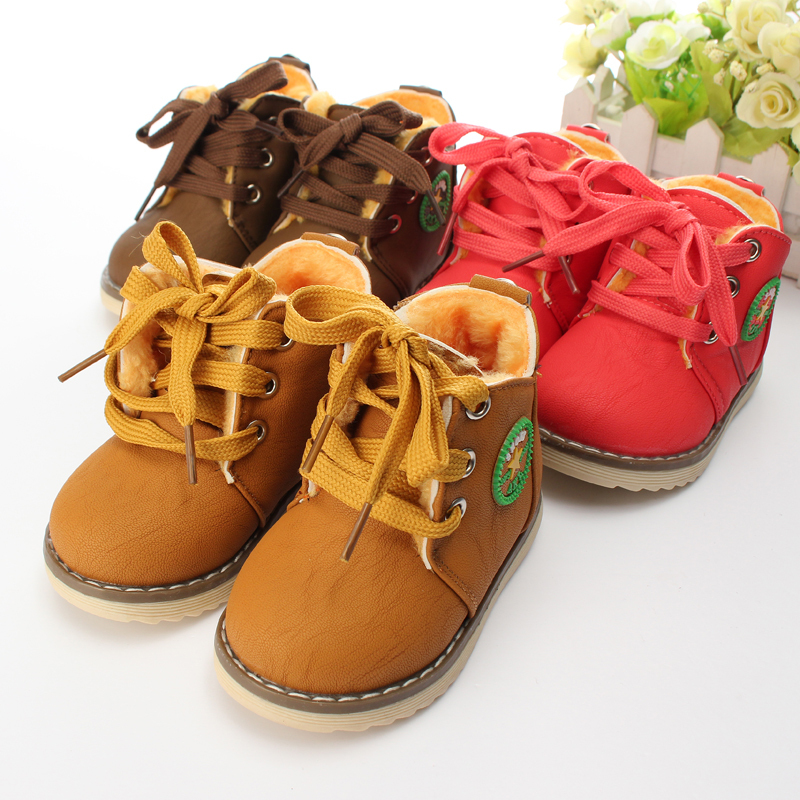 2015 New Children's Boots / Warm Botas For Boys Girls / Kids Plush Hand Stitching Cotton Winter Boots Size 21-26 Free Shipping(China (Mainland))