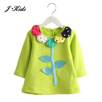 Growth 80-125 kids girls shirts spring autumn clothes cute flower tree long sleeves brand quality cotton girls tee shirts pink