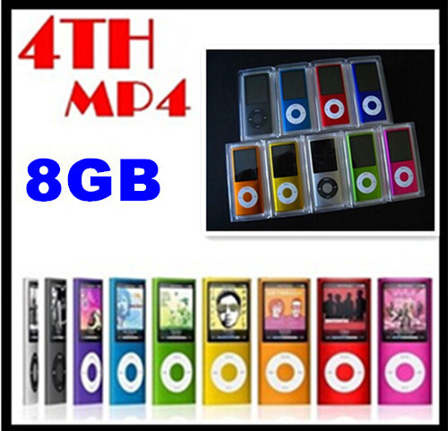 DHL Free shipping Christmas present Portable 4th LCD Gen MP3 MP4 Player 8GB 1.8 inch FM Radio Video Retail packaging box(China (Mainland))