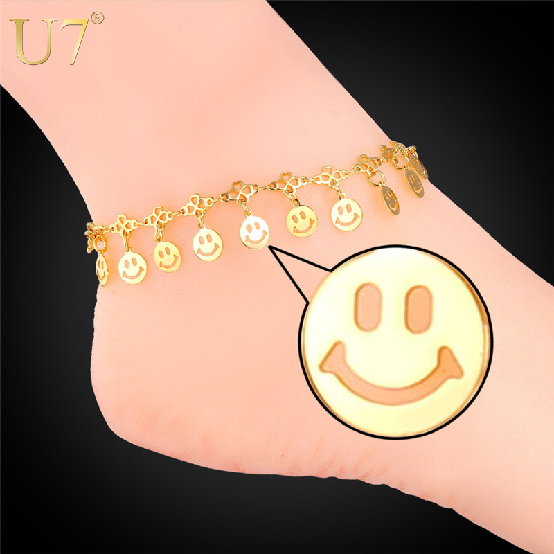 2015 Summer Jewelry Foot Bracelet For Women 18K Real Gold/Platinum Plated Smiling Face Anklet Bracelet Barefoot Sandals A306(China (Mainland))