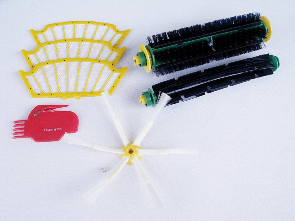 8Pcs Brush Kit for Irobot Roomba 500 510 530 532 535 540 555 560 562 570 572 580 581 590 610 all Green, Red, Black cleaning head(China (Mainland))