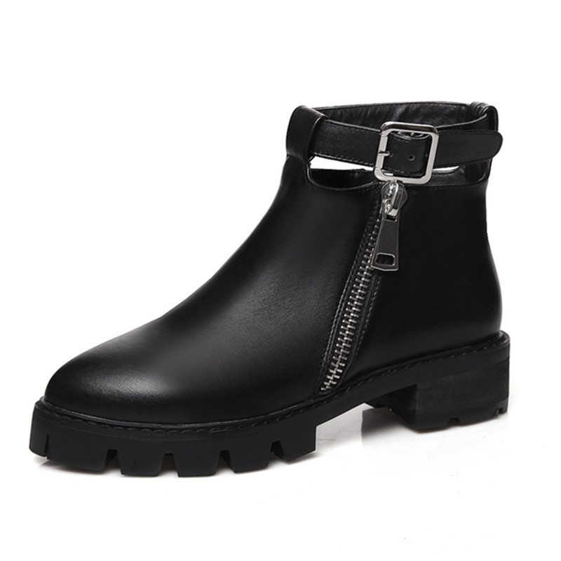 New plus size 34-40 pointed toe zipper buckle platform women ankle boots square heels fashion genuine leather winter boots shoes<br>