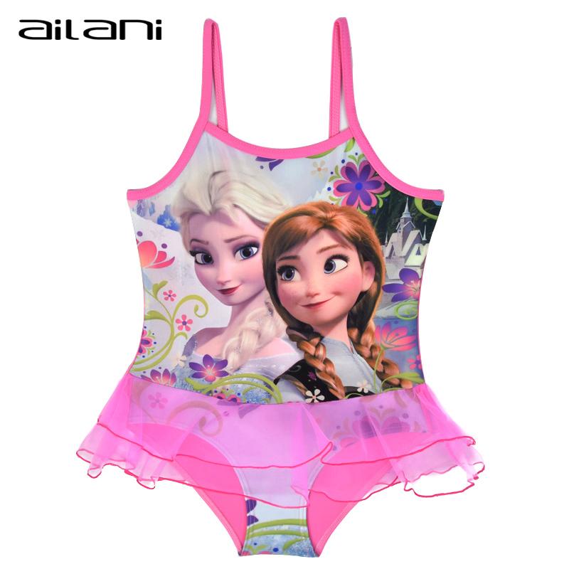 Designer Kids Swimwear For Girls Pink Elsa Anna Swimming Suit Baby Girls Children Lace Bathing Suit maillot de bain enfant(China (Mainland))