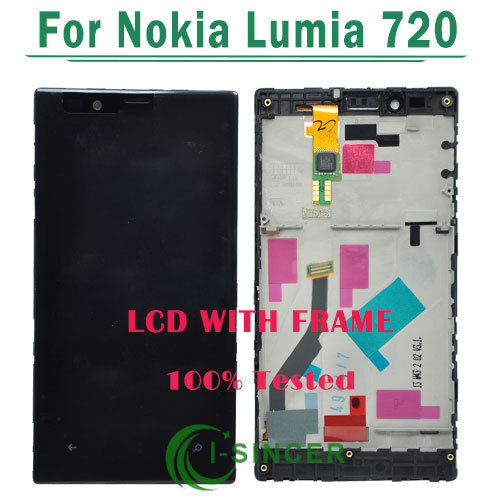 Free DHL~ 10/PCS LCD Display For Nokia Lumia 720 N720 with lcd Touch Screen Digitizer +Frame Full Assembly Black color(China (Mainland))