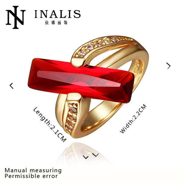 R413 2015 New Brand Ruby Jewelry 18K Gold Ring Fine Jewelry Wedding Rings For Women anillos
