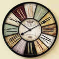 60cm 34cm large wood wall clock vintage retro style with roman number metal frame for home