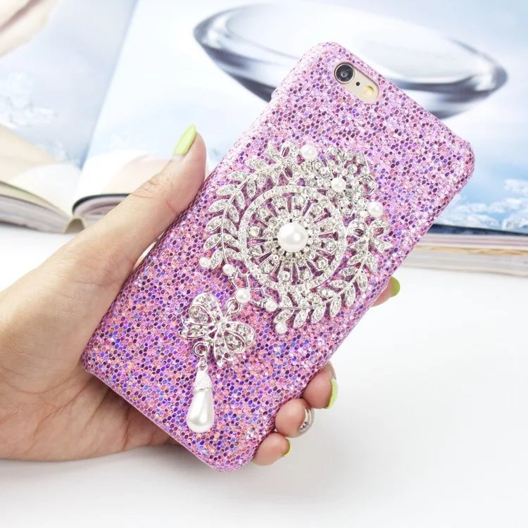 New products beautiful Sun flower decoration pearl mobile phone case for iPhone 6 6s 6p plus good performance protection shell(China (Mainland))