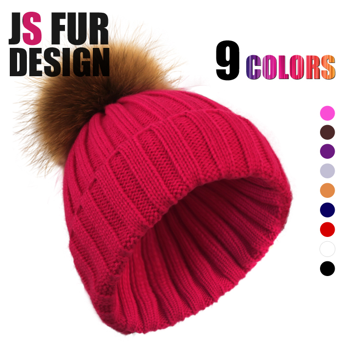 Winter Beanie Real Fur Knitted Hat Cap For Women Warm Winter Man Wool Knitted Beanies Free Shipping Women Caps Raccoon Fur Hats(China (Mainland))