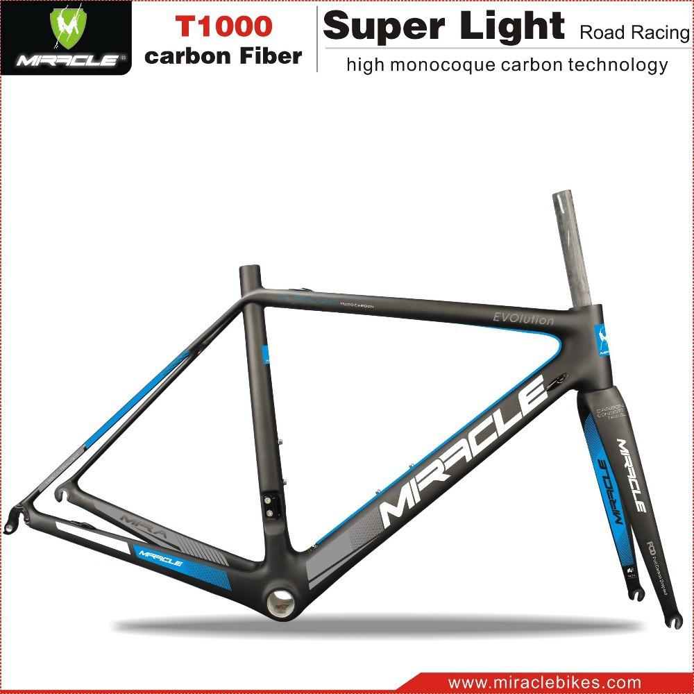 Miracle Decal Blue Road Bike Carbon Fiber T1000 Frame&amp;Fork Compatible Di2 BSA/BB30 Bicycle Frameset 45/47/49/51/53/55/58cm<br><br>Aliexpress