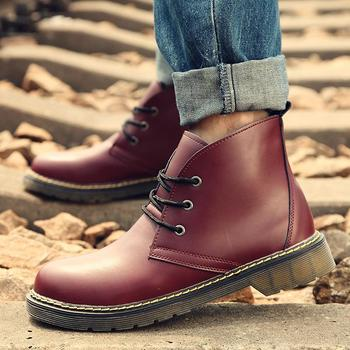 New Fashion Men Casual Boots Lace Up Round Toe Man Shoes England Style Martin Men's Outdoor Shoes