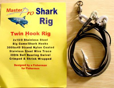 5 X Premium Quality Custom Design Shark Rig 2X12/0 S/S Hook 400lb Wire Trace For Fishing Special Offer with Free Postage(China (Mainland))