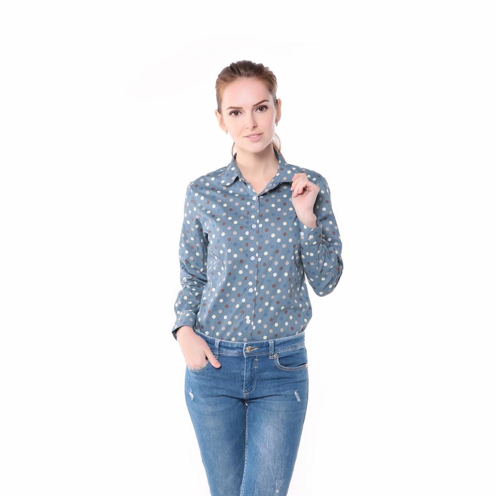 חם חדש נשים חולצות שרוול ארוך חולצה מנוקדת Blusas Femininas 2015 כותנה החולצה האדומה נשים מקסימום Camisas Femininas מקסימום