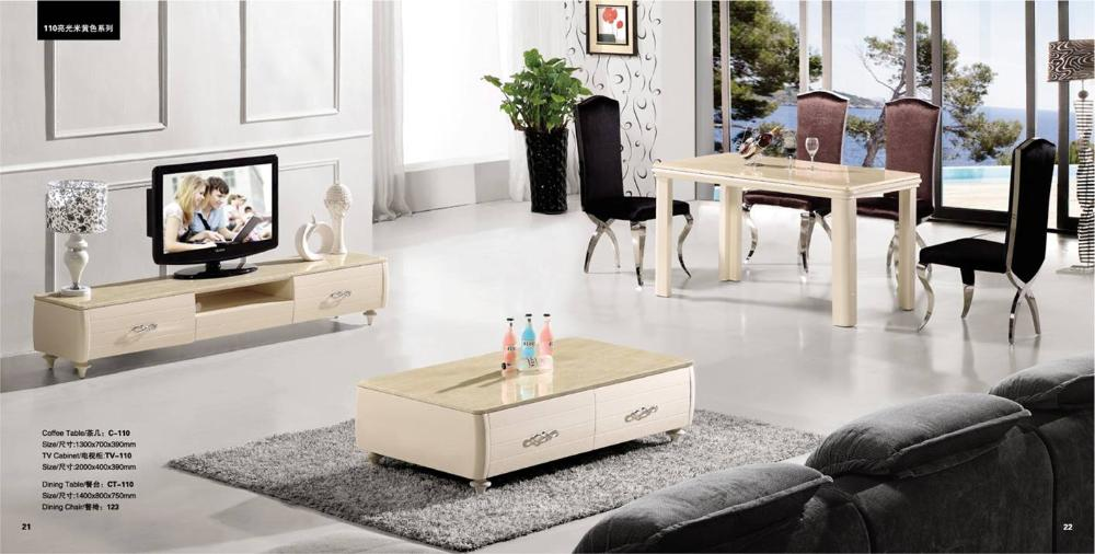 Dinning table coffee table tv cabinet wood furniture set for 7 piece living room set with tv