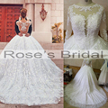 Said Mhamad Real Picture Wedding Dresses Long Transparent Sleeve Appliques Beading Pearls Chapel Train Bridal Dresses