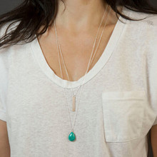 TX1215 Hot fashion double chain bar and turquoise ball long pendant necklace simple tiny jewelry (China (Mainland))