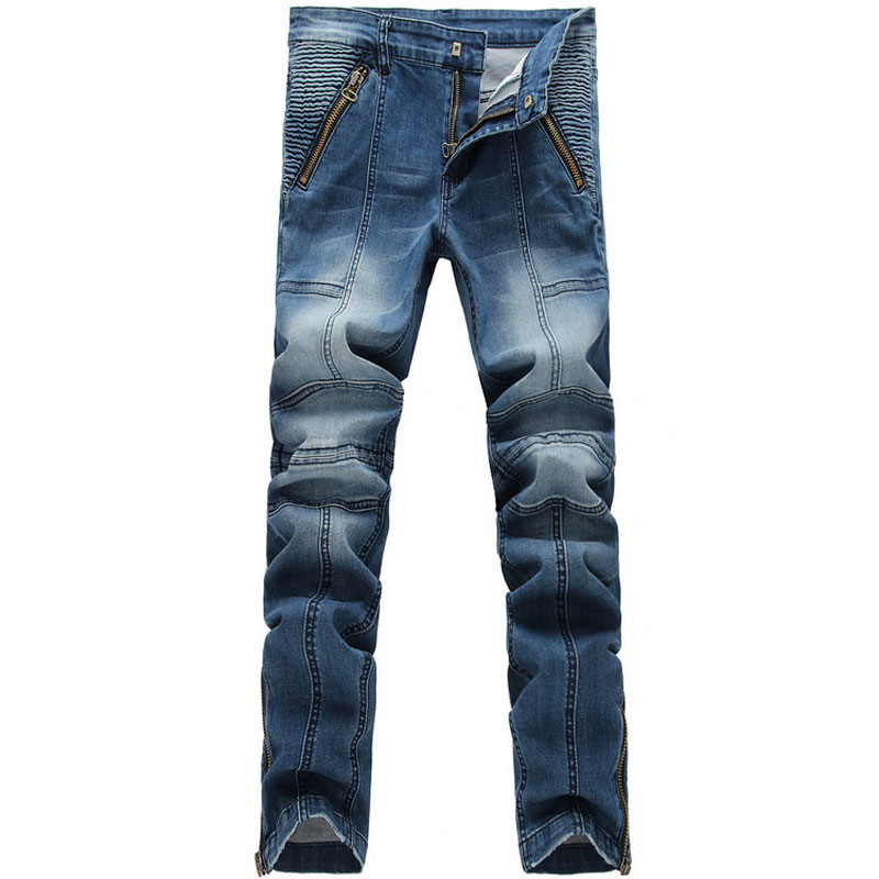 Slim Straight Denim Jeans Patchwork Men 2015 Fashion Mens Zipper Decoration Casual Long Pants Jeans Washed-out Male TrousersОдежда и ак�е��уары<br><br><br>Aliexpress