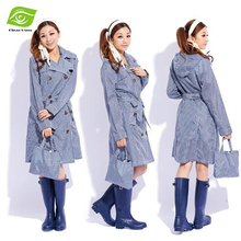 New Trench Coat Style Hooded Poncho Raincoat With Belt Long Women Rain Jacket Waterproof Windbreaker Outdoor Rainwear(China (Mainland))