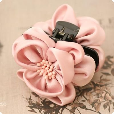 Silk Big Flower Hair Claw Flower with Stamen Pistil Claw Clip for Hair Beautiful Chiffon Flower for Women New(China (Mainland))