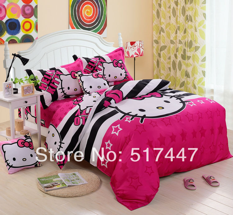 Pink stripe cartoon bedding sets 4pcs 100%cotton duvet quilt bed linen cover for king queen size hello kitty kids bedclothes(China (Mainland))