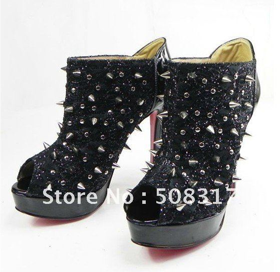 2011 NEW Fashion Lady leather High heels,Dress high hees,Wedding Pumps,Rivets short boots,ankle boots,Sexy Platform Pumps(China (Mainland))